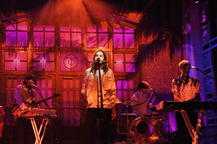 """479d9fe4543a Australian psychedelic music project Tame Impala appeared on Saturday Night  Live, where the band performed """"Patience"""" and """"Borderline""""."""